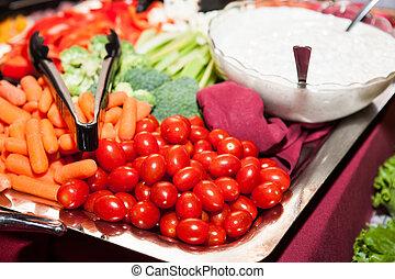 saudável, legumes frescos, comer