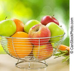 saudável, legumes, frutas, orgânica, alimento.
