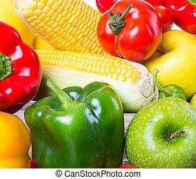 saudável, legumes, fundo branco, frutas
