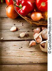 saudável, legumes, madeira, orgânica, fundo