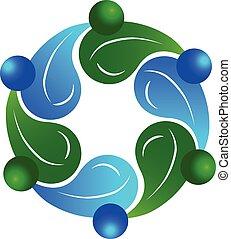 saudável, logotipo, trabalho equipe, pessoas