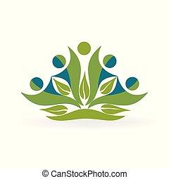 saudável, logotipo, vetorial, natureza, pessoas