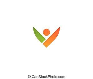 saudável, logotipo, vida, pessoas