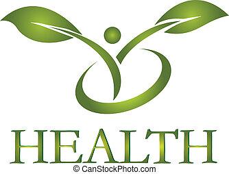 saudável, logotipo, vida, vetorial