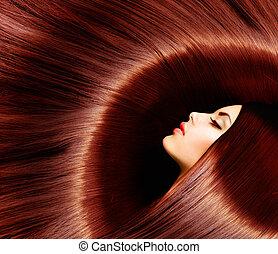 saudável, longo, marrom, hair., beleza, morena, mulher