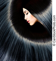 saudável, longo, pretas, hair., beleza, morena, mulher