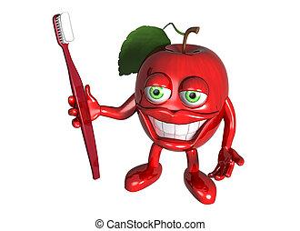 saudável, maçã, com, limpo, dentes