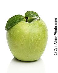 saudável, maçã verde, isolado, branco