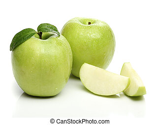 saudável, maçã verde, isolado, branco, fundo