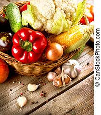 saudável, madeira, legumes, orgânica, fundo