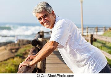 saudável, malhação, meio envelheceu, praia, homem