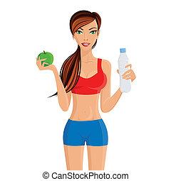 saudável, menina, estilo vida, condicão física