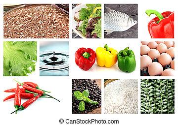 saudável, mistura, alimentos