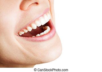 saudável, mulher feliz, riso, dentes