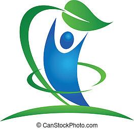 saudável, natureza, logotipo