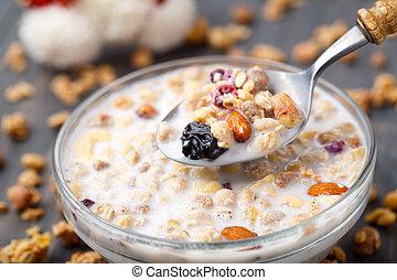 saudável, nozes, pequeno almoço, passa, muesli