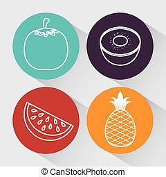 saudável, nutrição, alimento, ícone
