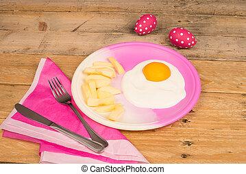 saudável, ovo fritado