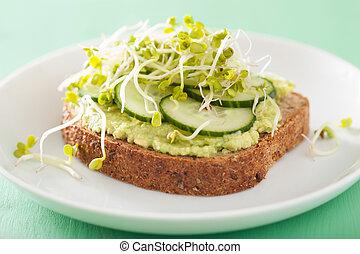 saudável, pão centeio, com, abacate, pepino, rabanete,...