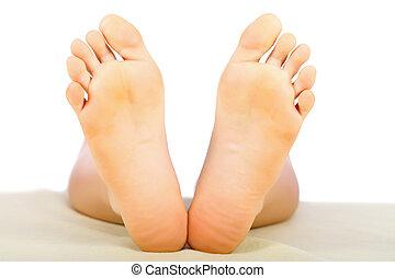 saudável, pés, senhora