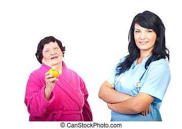 saudável, paciente, doutor amigável