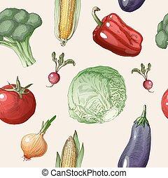 saudável, padrão, legumes, seamless, alimento, vindima, style.