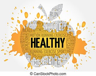 saudável, palavra, maçã, nuvem