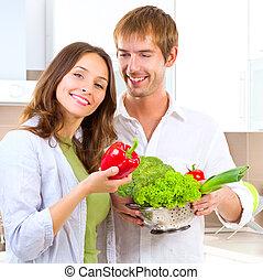 saudável, par, cozinhar, jovem, alimento, lar