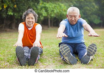 saudável, par velho, condicão física
