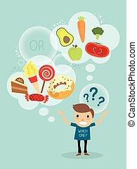 saudável, personagem, alimento, escolher, entre, caricatura, homem