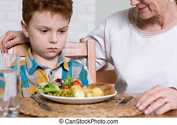 saudável, persuadindo, ele, alimento, porção, comer