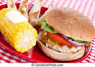 saudável, peru, refeição, hambúrguer