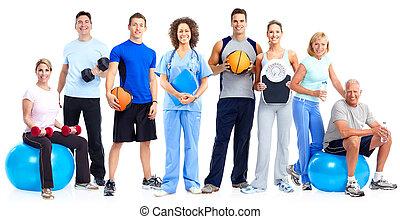 saudável, pessoas., grupo, condicão física