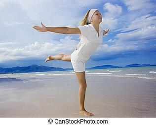 saudável, praia., mulher, estilo vida