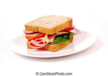 saudável, presunto, sanduíche, com, queijo, tomates, branco, fundo