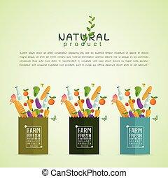 saudável, produto fresco, papel, pacote