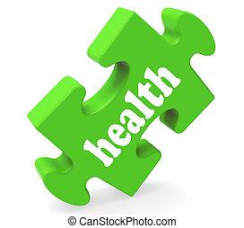 saudável, quebra-cabeça, wellbeing, saúde, médico, mostra