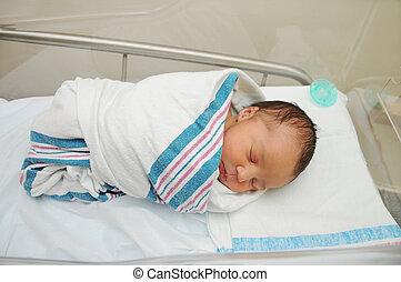 saudável, recem nascido, criança, hospitalar
