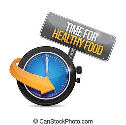 saudável, relógio, ilustração, alimento., desenho, tempo