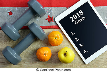 saudável, resolutions, para, a, ano novo, 2018.