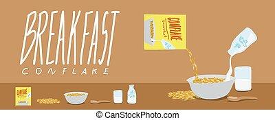 saudável, respingo, vetorial, breakfast-cornflakes, leite