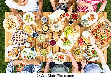 saudável, reunião, topo, alimento, tabela, durante, amigos, vista