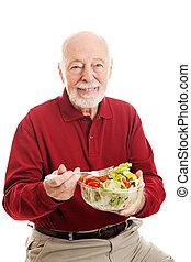 saudável, sênior, comer, salada, homem