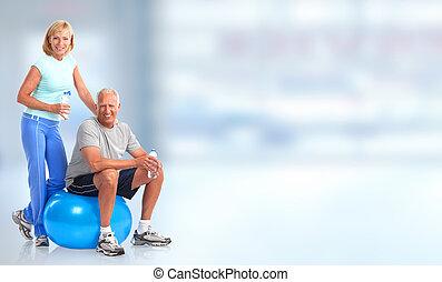 saudável, sênior, par., condicão física