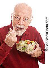 saudável, sênior, salada, ajustar