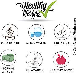 saudável, símbolo, estilo vida, cobrança
