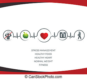 saudável, símbolos, estilo vida