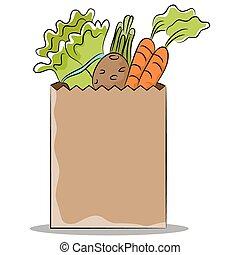 saudável, saco, mercearia, legumes
