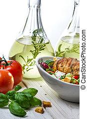 saudável, salad galinha, ingredientes