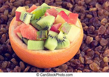 saudável, salada fruta, fundo